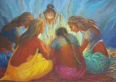 Cercle de femme autour du feu intérieur