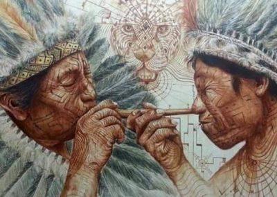 Illustration de deux indiens respirant le tabac pendant une cérémonie