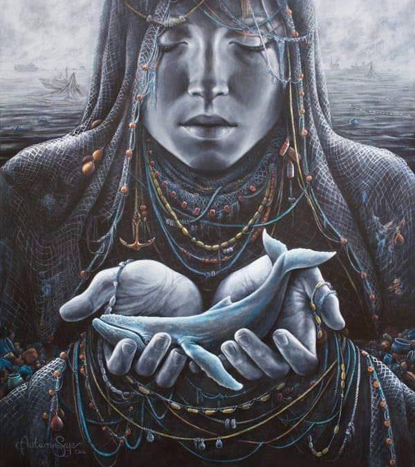 dessin d'une déesse de la mer tenant une baleine entre ses mains